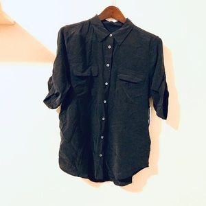 🛍Equipment | Black Short Sleeve Silk Blouse